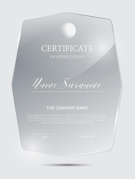 Elegante zertifikatvorlage mit glasmaterialrahmen Premium Vektoren