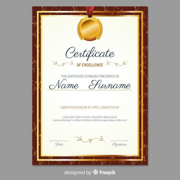 Elegante zertifikatvorlage mit goldenem stil Kostenlosen Vektoren