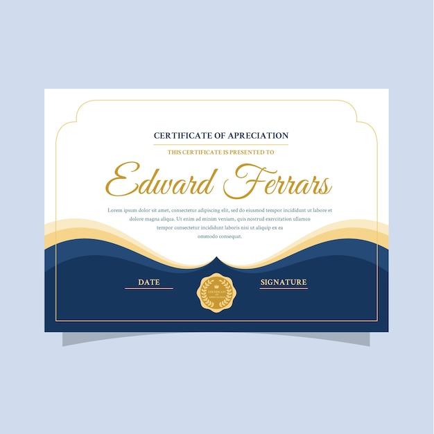 Elegante zertifikatvorlage mit goldenen buchstaben Kostenlosen Vektoren