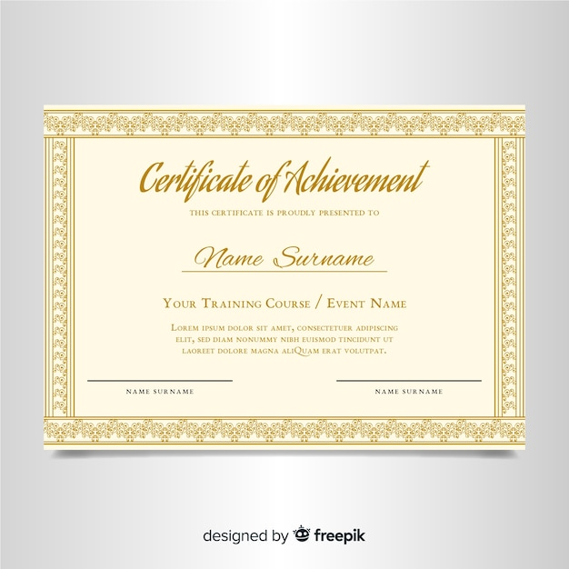 Elegante zertifikatvorlage mit ornamentrahmen Kostenlosen Vektoren