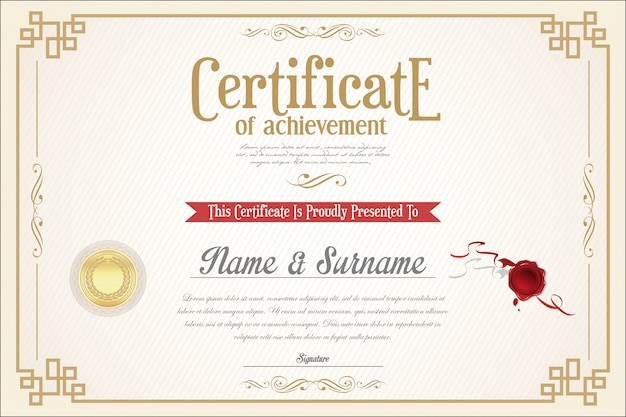 Elegante zertifikatvorlage Premium Vektoren