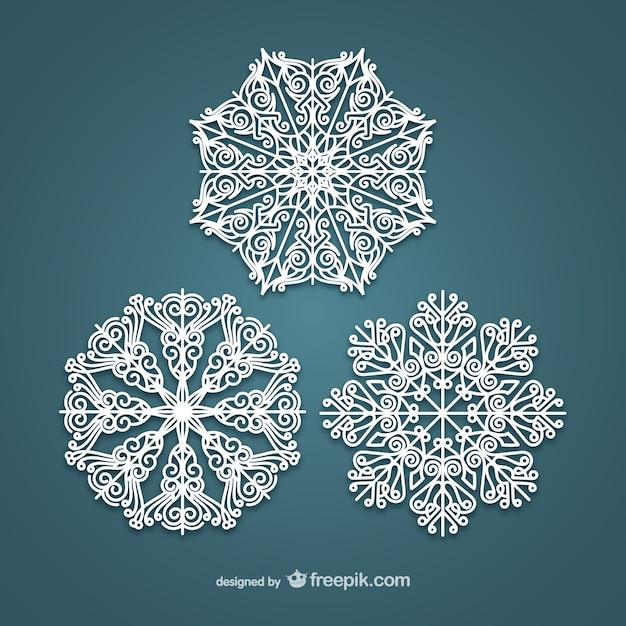 Eleganten weißen schneeflocken Kostenlosen Vektoren