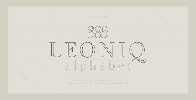 Eleganter alphabet beschriftet serifenguß und -zahl. klassische schrift thin line minimal fashion. Premium Vektoren