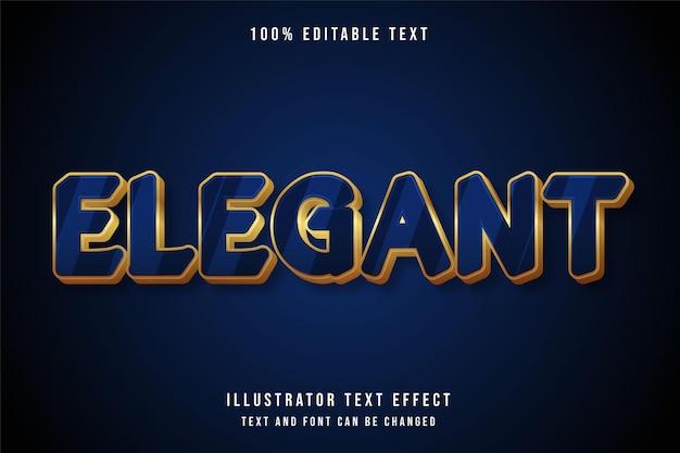 Eleganter, bearbeitbarer 3d-texteffekt moderner blauer abstufungsgelbgold-textstil Premium Vektoren