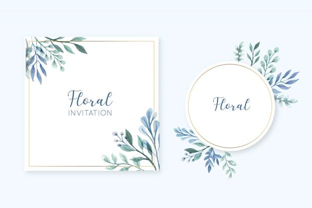 Eleganter blumenrahmenkartensatz mit aquarellblättern Kostenlosen Vektoren
