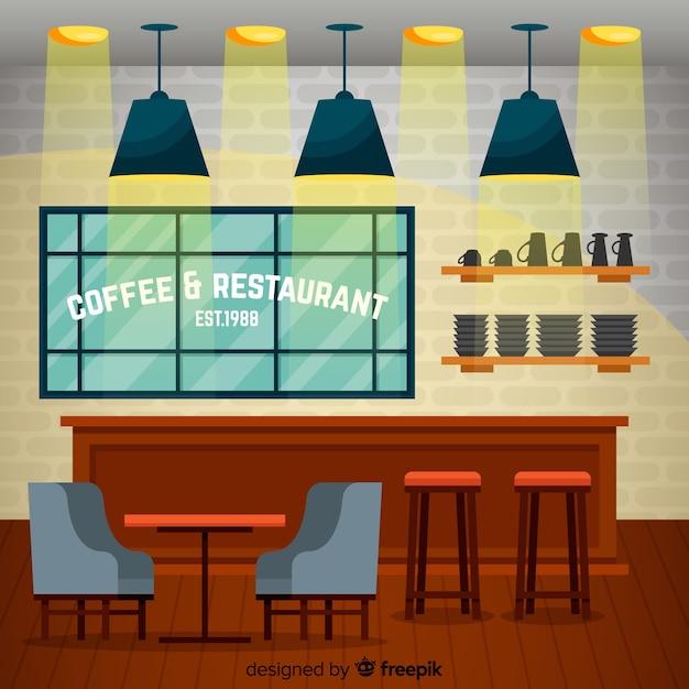 Eleganter coffeeshop-innenraum mit flachem design Kostenlosen Vektoren