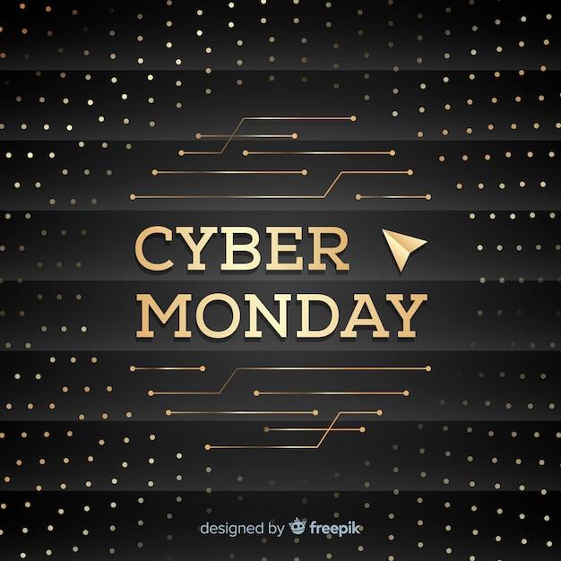 Eleganter cyber-montag-verkaufshintergrund mit goldenem text Kostenlosen Vektoren