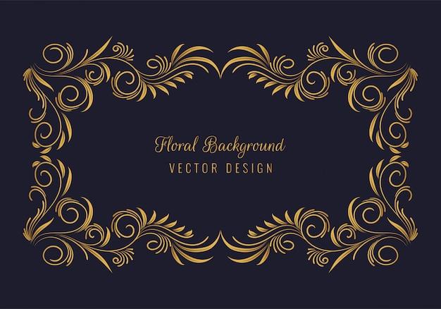 Eleganter dekorativer goldener blumenrahmenhintergrund Kostenlosen Vektoren