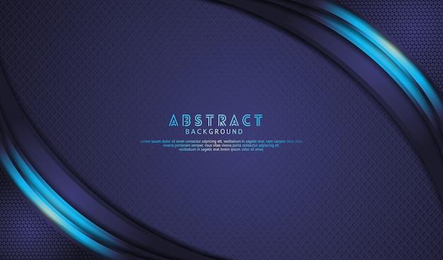 Eleganter dunkelblauer überlappungsebenenhintergrund mit hellblauen linien wirken auf strukturierte dunkelheit Premium Vektoren