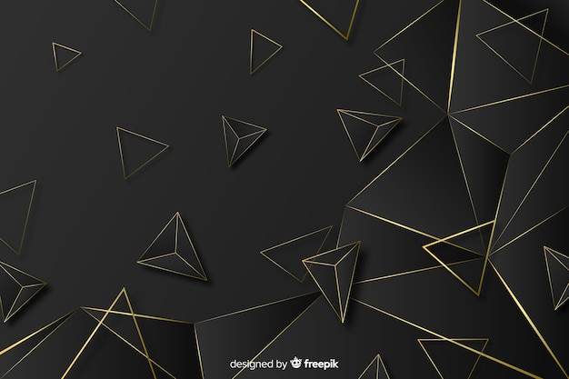 Eleganter dunkelheits- und goldpolygonaler hintergrund Kostenlosen Vektoren