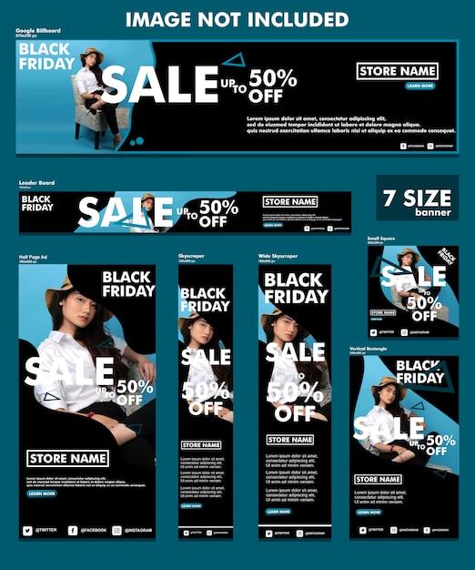 Eleganter fahnensatz des schwarzen freitags Premium Vektoren
