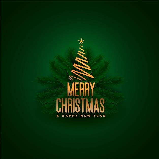 Eleganter fröhlicher weihnachtsbaum und blattgrün Kostenlosen Vektoren