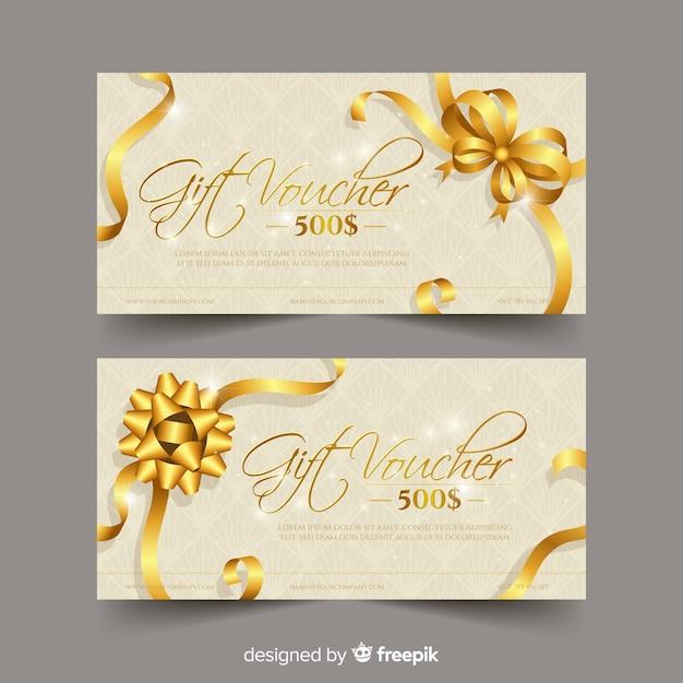 Eleganter geschenkgutschein im goldenen stil Kostenlosen Vektoren
