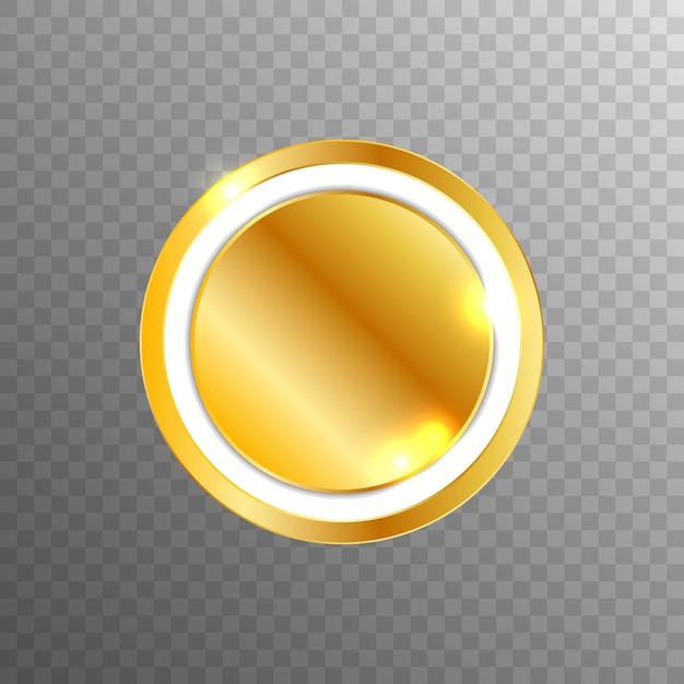 Eleganter goldener leerer vektor-webknopf Premium Vektoren