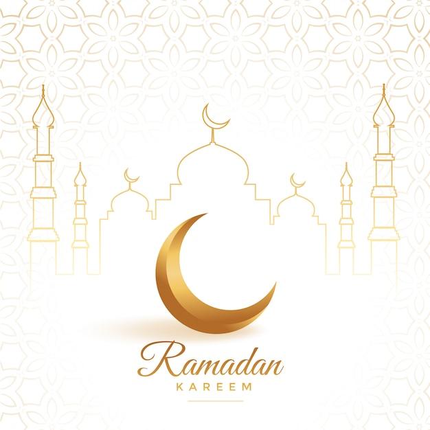 Eleganter goldener mond mit moschee ramadan kareem hintergrund Kostenlosen Vektoren