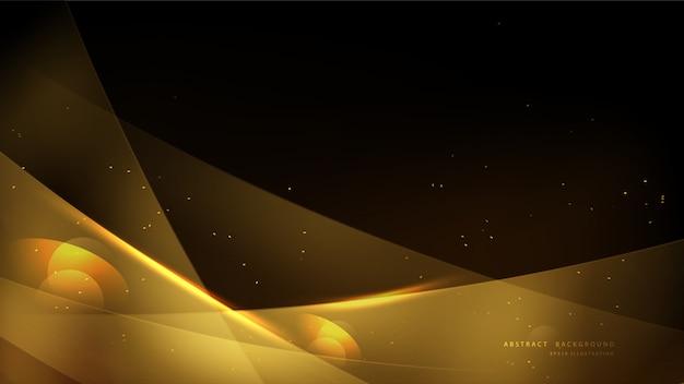 Eleganter goldhintergrund mit bokeh und glänzendem licht. helles luxusgoldzusammenfassungs-hintergrunddesign. Premium Vektoren