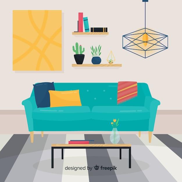 Eleganter hand gezeichneter wohnzimmerinnenraum Kostenlosen Vektoren