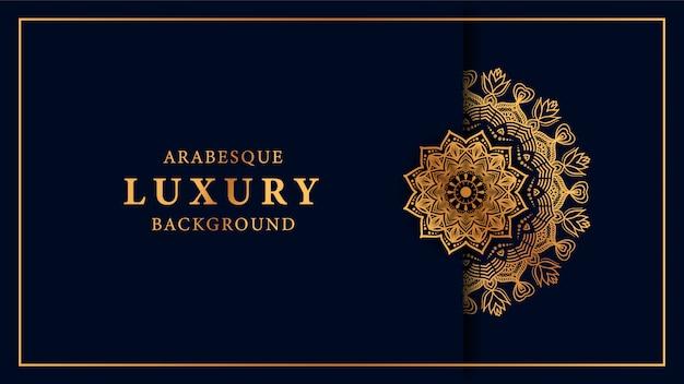 Eleganter hintergrund der luxusmandala mit goldener arabeskenmuster-araberart Premium Vektoren