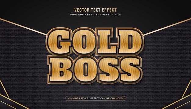 Eleganter, kräftiger goldtextstil mit geprägtem und strukturiertem effekt Premium Vektoren