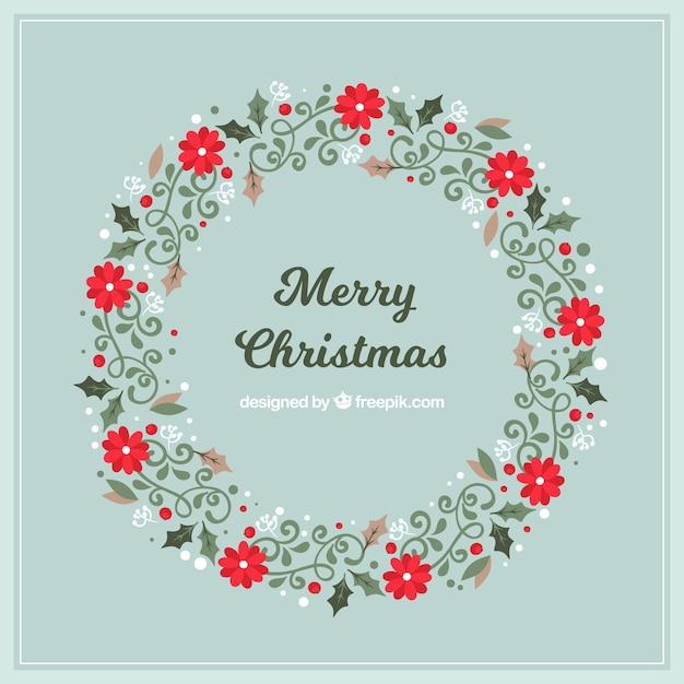 Eleganter kranz von frohe weihnachten im vintage stil download der kostenlosen vektor - Vintage bilder kostenlos ...