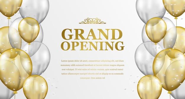 Eleganter luxus der feierlichen eröffnung mit fliegender goldener und silberner transparenter ballonrahmen-partyfeier Premium Vektoren