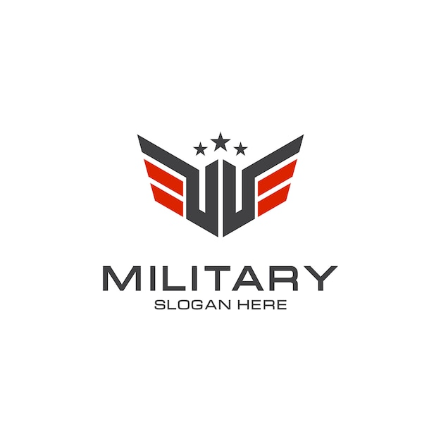 Eleganter militärlogoentwurf Premium Vektoren