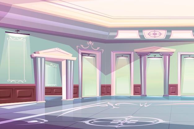 Eleganter palast-ballsaal, museumsgalerie-innenraum Kostenlosen Vektoren