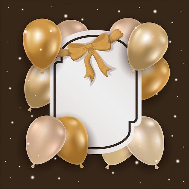 Eleganter rahmen mit goldener schleife und luftballons aus helium Premium Vektoren