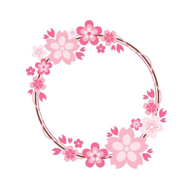 Eleganter rosa sakura-rahmen Premium Vektoren