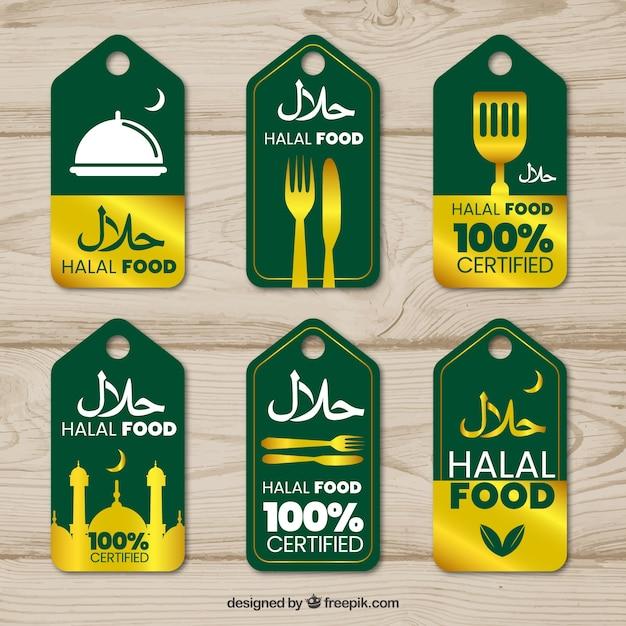 Eleganter satz halal-lebensmittelaufkleber mit goldener art Kostenlosen Vektoren