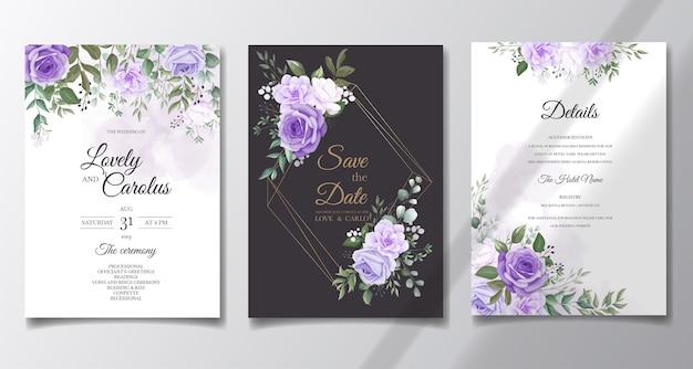Eleganter satz hochzeitseinladungskarten mit schönen lila blumen Kostenlosen Vektoren