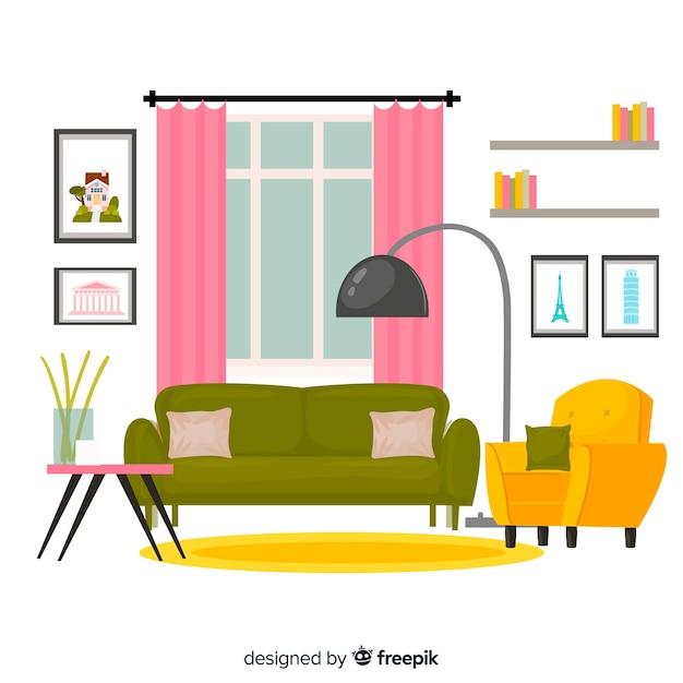 Eleganter wohnzimmerinnenraum mit flacher auslegung Kostenlosen Vektoren