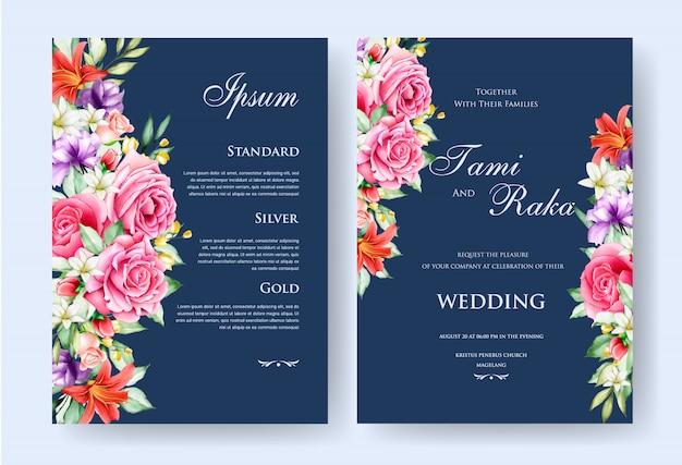 Elegantes aquarell mit blumen- und blatthochzeitskartentermplate Premium Vektoren