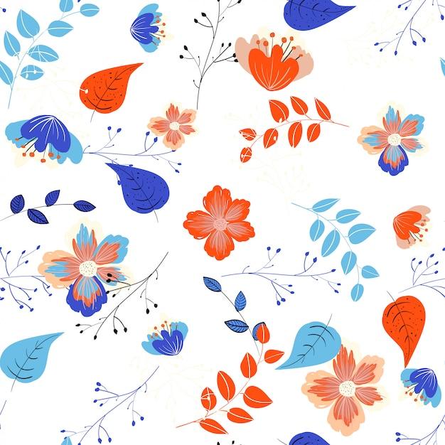 Elegantes blaues nahtloses mit blumenmuster. vektor blumen hintergrund Premium Vektoren