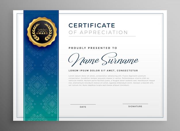 Elegantes blaues zertifikat der anerkennungsschablonen-vektorillustration Kostenlosen Vektoren