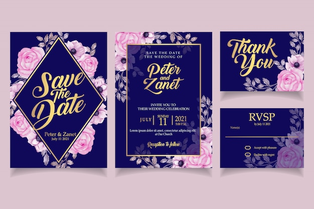 Elegantes blumenaquarelleinladungshochzeitskarten-schablonenrosa Premium Vektoren
