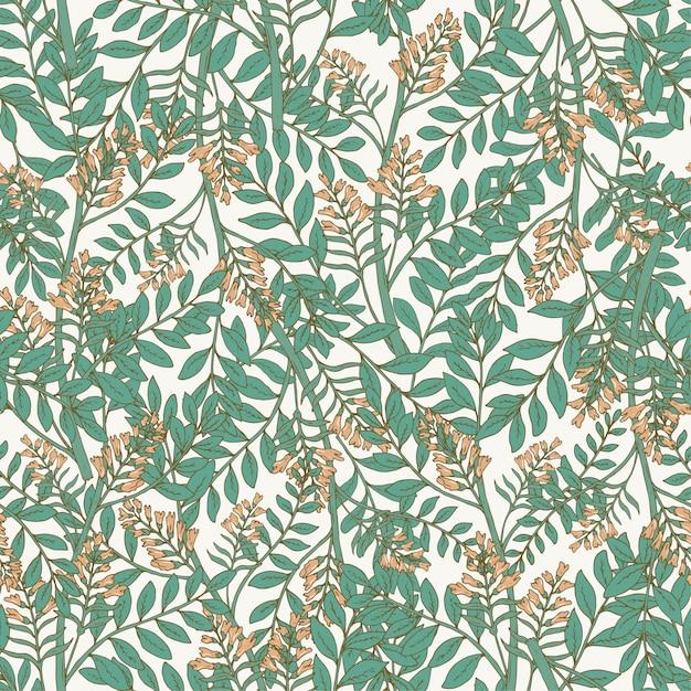 Elegantes botanisches nahtloses muster mit akazienblütenständen und blättern. Premium Vektoren