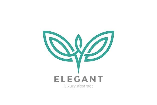 Elegantes flügel-logo lokalisiert auf weiß Premium Vektoren