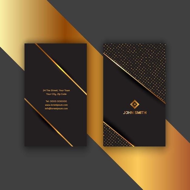 Elegantes gold und schwarze visitenkarte Kostenlosen Vektoren
