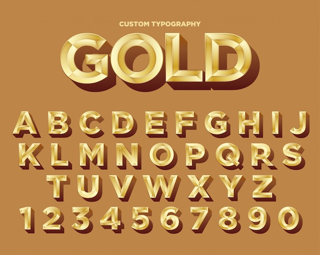 Elegantes goldtypographieschriftdesign Premium Vektoren