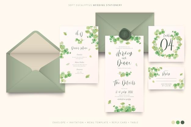 Elegantes hochzeitsbriefpapier mit eukalyptusblättern Kostenlosen Vektoren