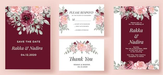 Elegantes hochzeitseinladungsset burgund und rosa rose Kostenlosen Vektoren