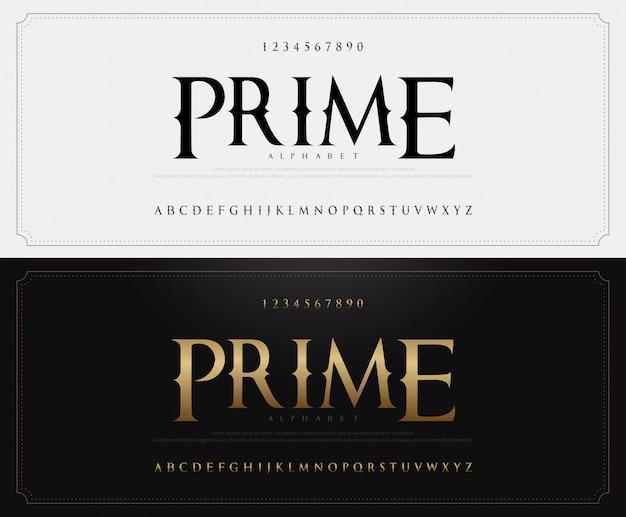 Elegantes klassisches alphabet beschriftet guss und zahl Premium Vektoren