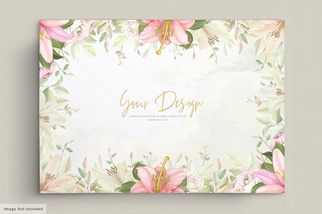 Elegantes lilie hochzeitskartenset Kostenlosen Vektoren