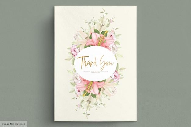 Elegantes lilie hochzeitskartenset Premium Vektoren