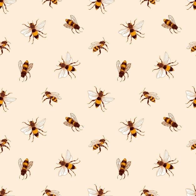 Elegantes nahtloses muster mit honigbienen auf hellem hintergrund. Premium Vektoren