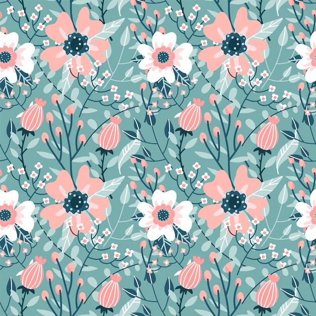 Elegantes nahtloses muster mit rosa hunderosenblüten, knospen und zweigen., flache hand gezeichnete verzierungsillustration. Premium Vektoren