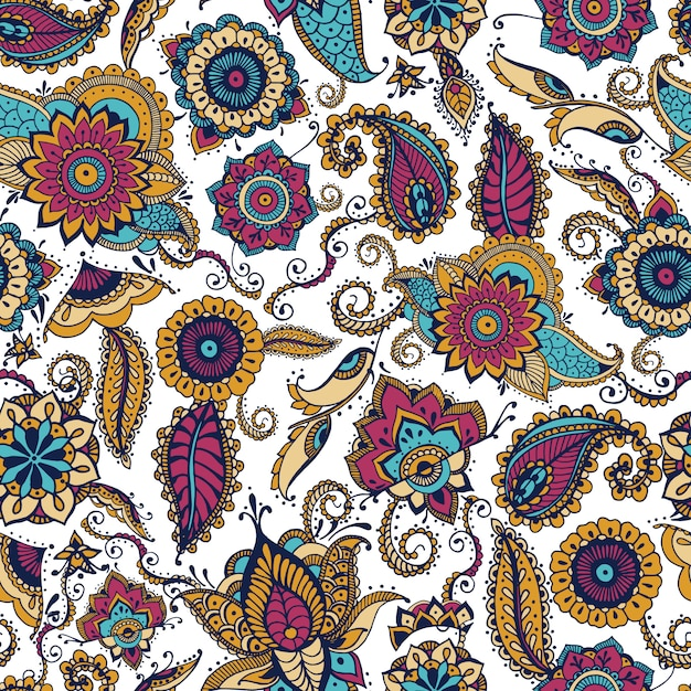 Elegantes nahtloses paisley-muster mit buntem indischen buta-motiv und floralen mehndi-elementen Premium Vektoren