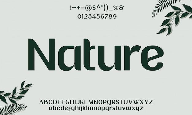 Elegantes naturschrifttyp-schriftalphabet Premium Vektoren