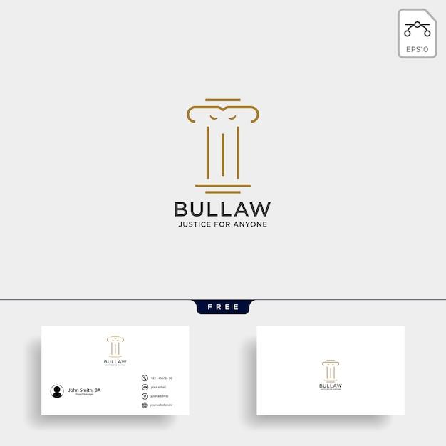 Elegantes säulenanwaltlogo Premium Vektoren